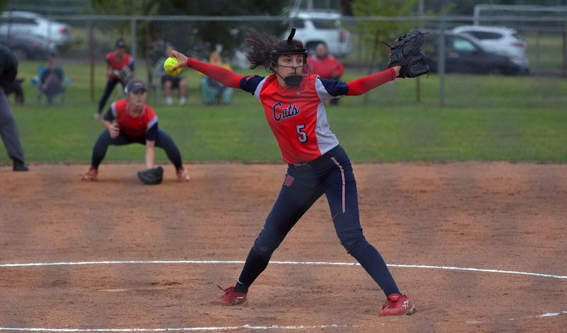 TIMES PHOTO: MATT SINGLEDECKER - Westview freshman Mia Patino threw a complete game gem against Oregon City in the 6A semifinals.