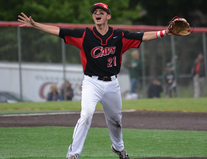 PAMPLIN MEDIA: DAVID BALL - Clackamas third baseman Greg Mehlhaff exclaims after making the final out during the Cavaliers 6-2 win over Sheldon in Tuesdays semifinal game.