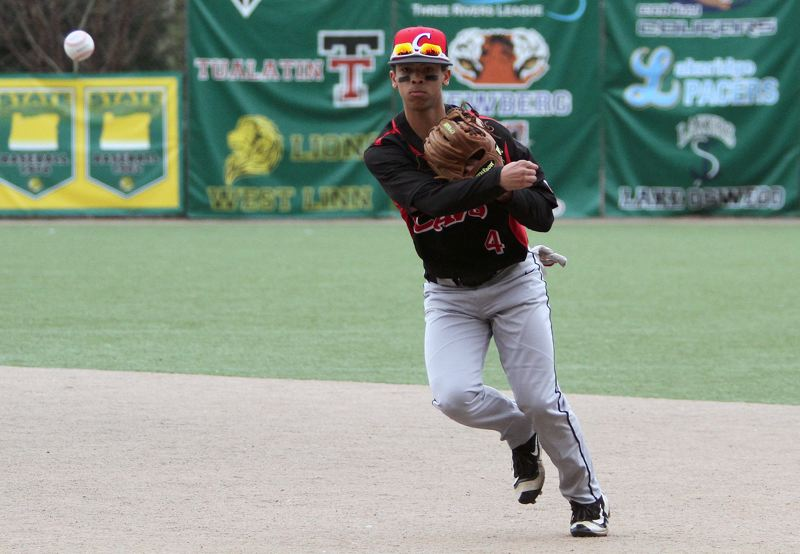 PMG PHOTO: MILES VANCE - Clackamas sophomore shortstop Alex Claxton, a second-team all-Mt. Hood Conference pick, and the Cavaliers will meet West Linn in the Class 6A state championship at 5 p.m. Saturday at Volcanoes Stadium in Keizer.