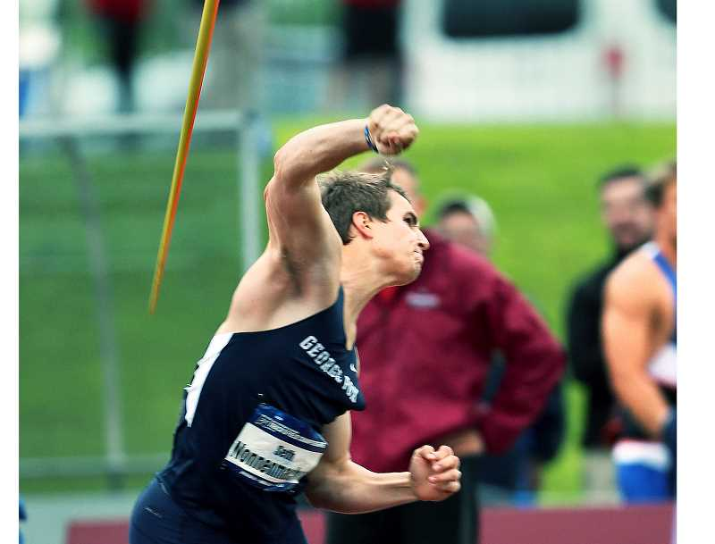 PHOTO COURTESY OF GFU  - George Fox junior Seth Nonnenmacher placed first in the javelin with a school-record throw of 227-1 May 25 at the NCAA Division III National Championship in Geneva, Ohio. His effort helped the Bruins place a program-best seventh in the team standings.