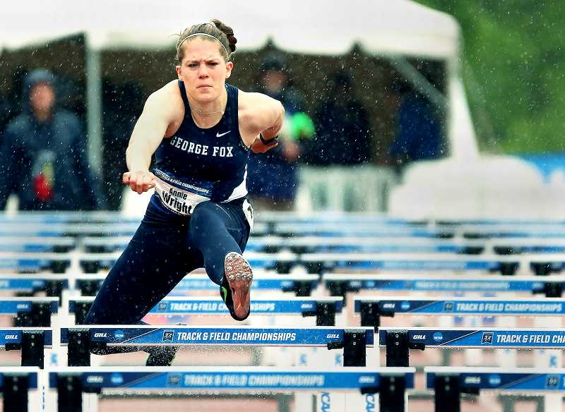 PHOTO COURTESY OF GFU  - Sophomore Annie Wright placed second in the heptathlon (4,779) Friday to help the George Fox women place in a tie for 17th at the NCAA Division III National Championship in Geneva, Ohio.