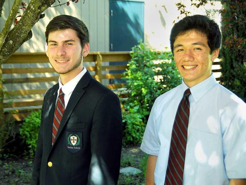 SETH GORDON - Veritas graduates Jake Kanyer (left) and Logan Boyd shared valedictorian honors at graduation Friday night and were named National Merit Finalists this spring.