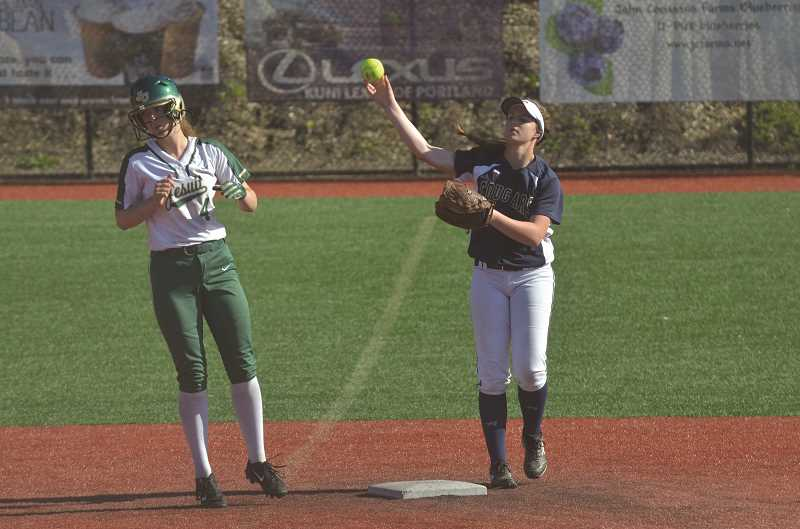HERALD PHOTO: COREY BUCHANAN - Canby softball player Emily Hewitt (right) received second team all-league distinction.
