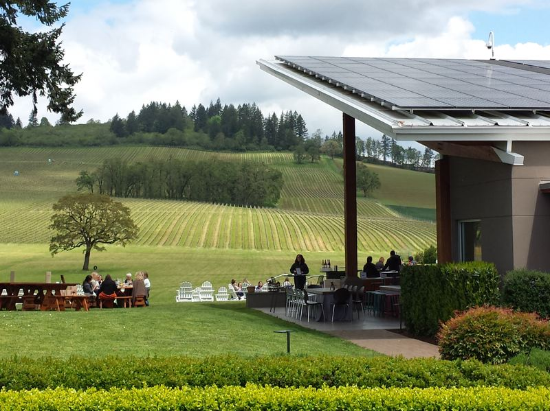 PAMPLIN MEDIA GROUP: JENNIFER ANDERSON  - Solar panels help wineries, like the Lenne Estate in Yamhill, make a visible green branding statement. The winery was part of the fifth annual Solar Wine tour organized by Solar Oregon.