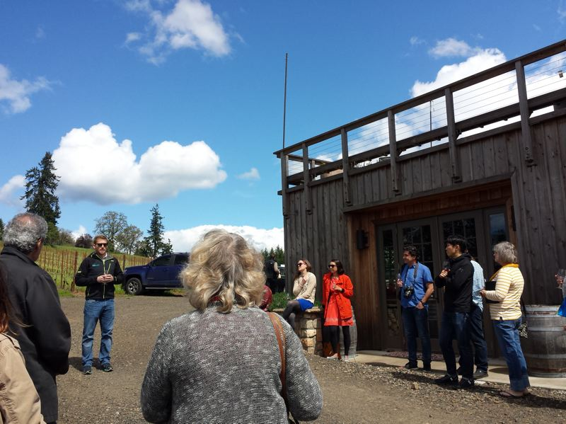 PAMPLIN MEDIA GROUP: JENNIFER ANDERSON  - With pinot gris in hand, participants on the Solar Wine tour learn why solar goes so well with wineries. Both thrive with southern exposure.