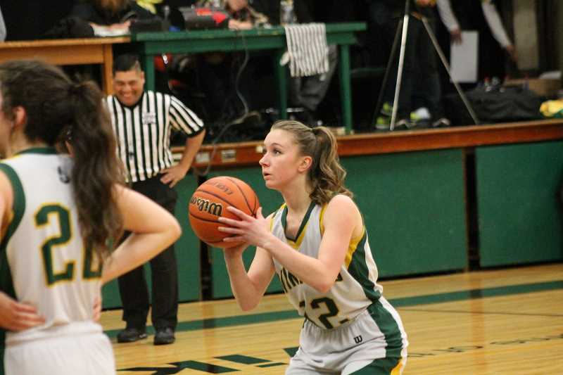 PIONEER PHOTO: CONNER WILLIAMS - Colton senior Rachel McCoy prepares to shoot free throws during a game against Scio at home last season.