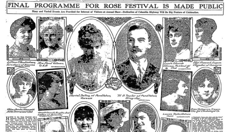 As seen in the bottom right of this newspaper clipping from 1916, Rose (Uptegrove) Moody was the first Oregon City High School student to be selected as a Rose Festival princess.
