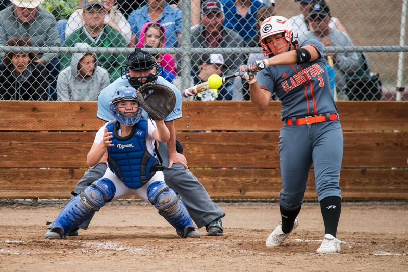 PAMPLIN MEDIA: LON AUSTIN - Madi Mott's sixth-inning homer gave Gladstone a 1-0 lead in Tuesday's OSAA Class 4A softball semifinal game against Crook County in Prineville.