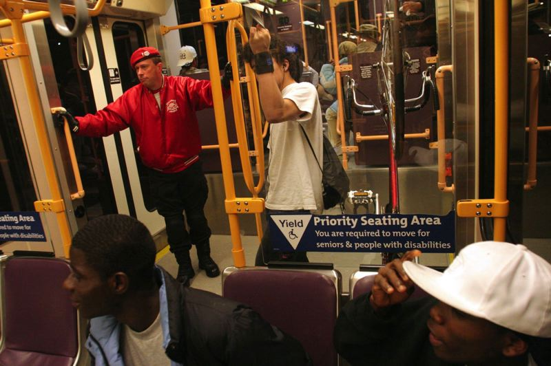 PORTLAND TRIBUNE FILE PHOTO - This is not the first time safety has been an issue for TriMet. Guardian Angels voluntarily rode MAX trains in 2007 after an assault at a Gresham station.