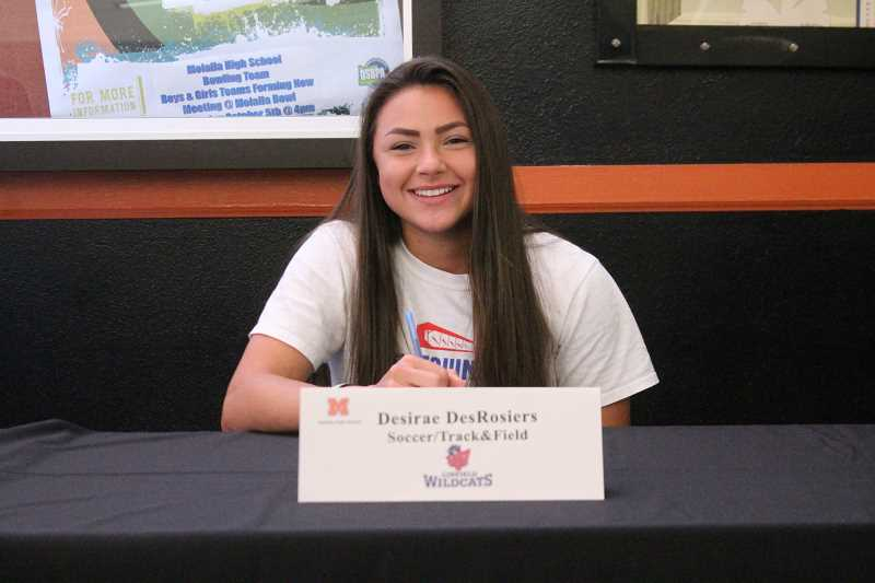 PIONEER PHOTO: CONNER WILLIAMS  - Molalla senior Desirae DesRosiers will continue her soccer and track & field careers at