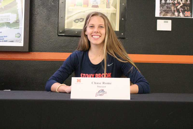 PIONEER PHOTO: CONNER WILLIAMS  - Molalla senior Chase Rome will continue her soccer career at Division I Stony Brook