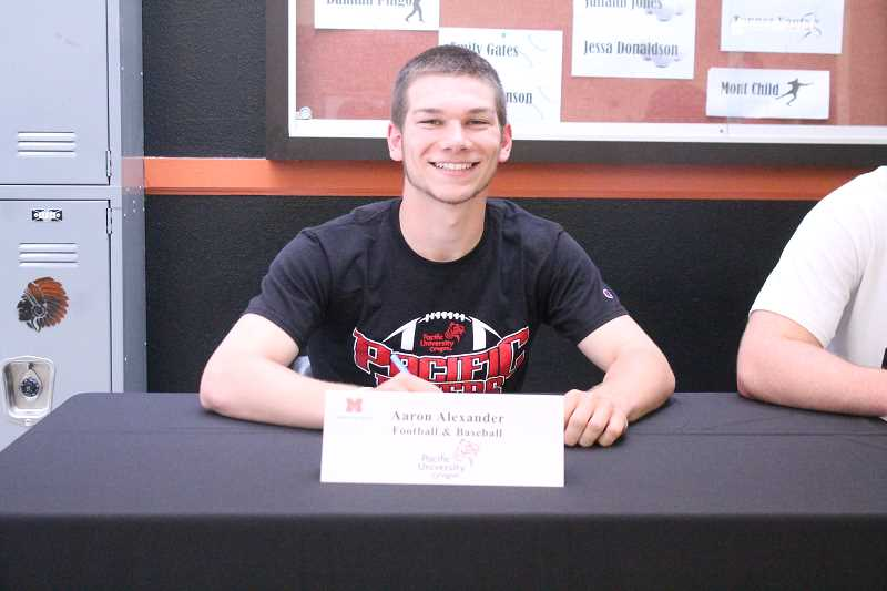 PIONEER PHOTO: CONNER WILLIAMS  - Molalla senior Aaron Alexander will continue his baseball and football