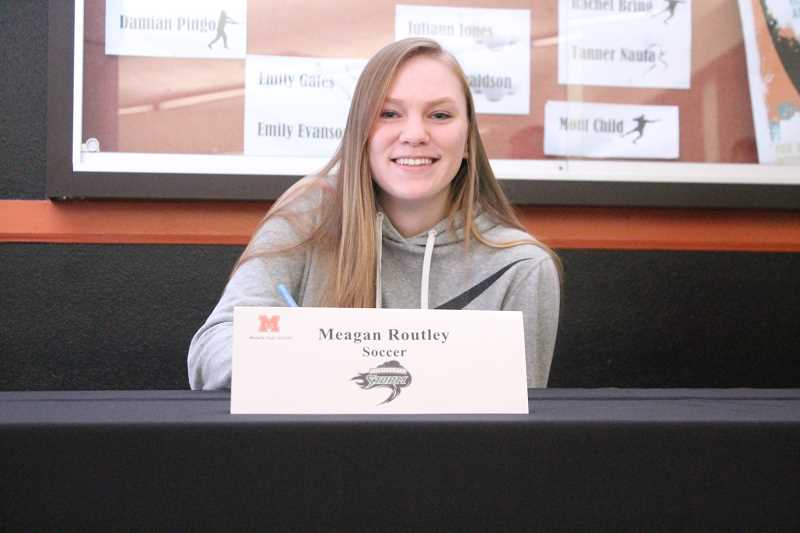 PIONEER PHOTO: CONNER WILLIAMS  - Molalla senior Meagan Routley will continue her soccer career at Chemeketa Community