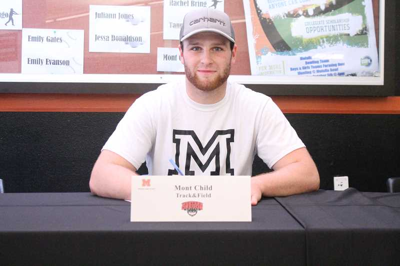 PIONEER PHOTO: CONNER WILLIAMS  - Molalla senior Mont Child will continue his track & field career at Western Oregon