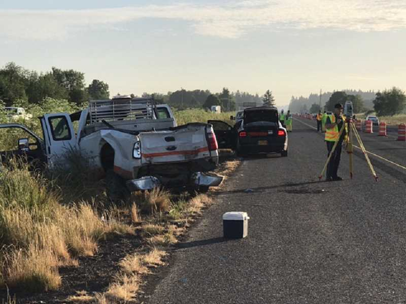 COURTESY OREGON STATE POLICE - Two highway workers were injured this morning in a hit and run on Interstate 5.