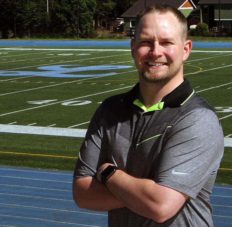 REVIEW PHOTO: MILES VANCE - After two years as Lakeridge High School athletic director, Ian O'Brien will leave the school at the end of June and return to Warrenton High School where he'll serve as vice principal, teacher and head football coach.