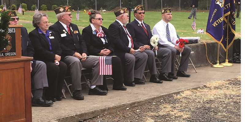 SUSAN WILLIAMS - Members of Molalla VFW Post at the Memorial Day ceremony at Adams Cemetery near Molalla.