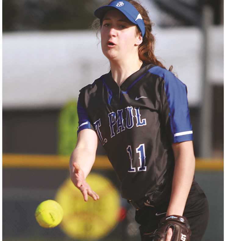 PHIL HAWSKINS - WOODBURN INDEPENDENT - Senior Elizabeth Brentano was named a second-team pitcher on the All-Tri-River Conference softball team after leading St. Paul with five wins. She also led St. Paul with two home runs and drove in 29 RBIs on the season.