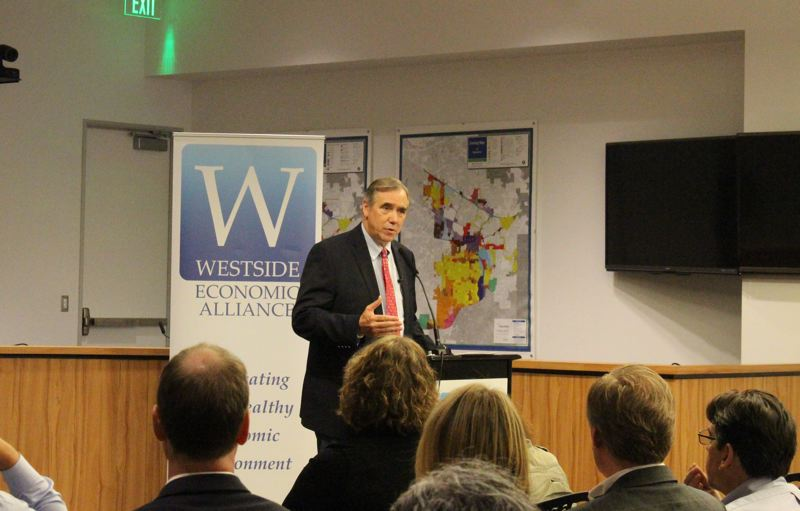 COURTESY WESTSIDE ECONOMIC ALLIANCE - Oregon U.S. Sen. Jeff Merkley kicked off the Housing Summit in Beaverton last week.