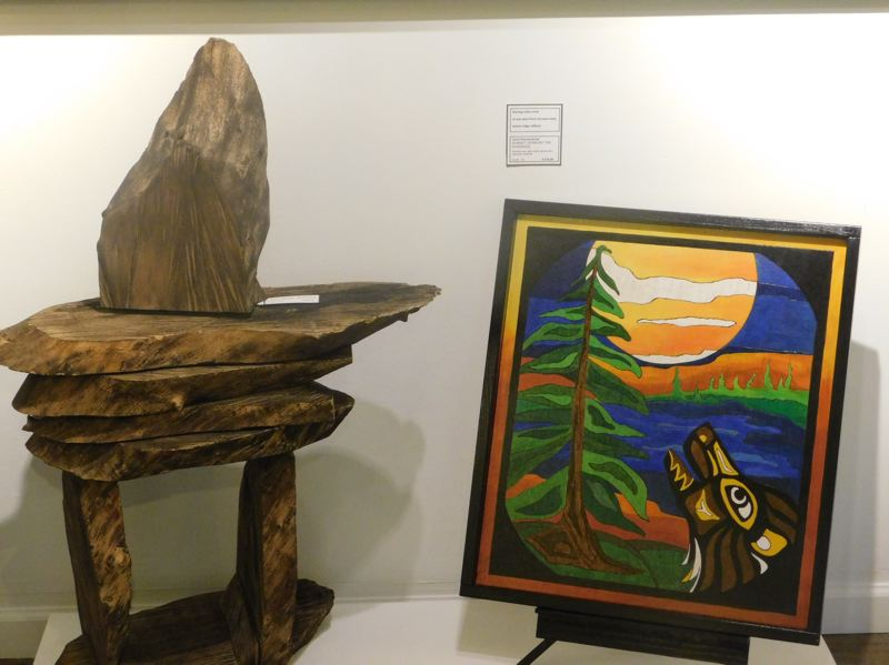 ESTACADA NEWS PHOTO: EMILY LINDSTRAND - Pulvermacher describes the ambiance of her show 'Eye of the Beholder' as rustic modern. The work will hang in the Spiral Gallery through the end of this month.