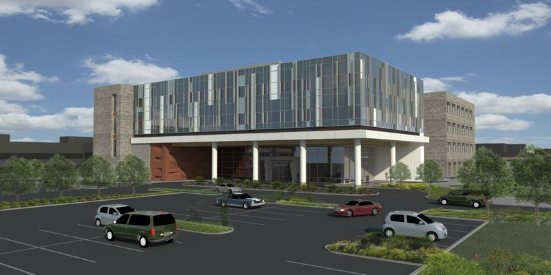 COURTESY OF LEGACY HEALTH - An artist's rendering shows what the exterior of the patient care tower to be built at Legacy Meridian Park Medical Center could look like on the hospital campus.