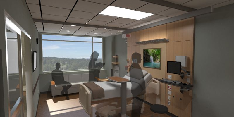 COURTESY OF LEGACY HEALTH - The patient care tower planned for Legacy Meridian Park Medical Center will include more modern examination rooms than what the hospital currently provides.