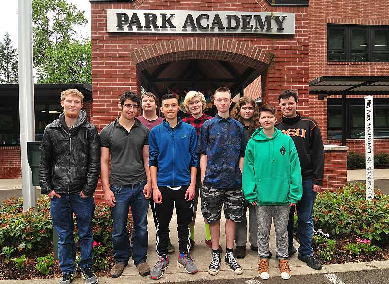 REVIEW PHOTO: VERN UYETAKE - Park Academy graduates include  (from left): front row, Jonathan Crane, Matt Frank, Miliano Jimenez-Sutton, Zak Thomas and Ace Tiedemann; and back row, Mason Barton, Tate Kruse, Sean McMurry and James Maxwell. Not pictured are: Zoe Davis, Talon Robedeau and Sam Sexauer.