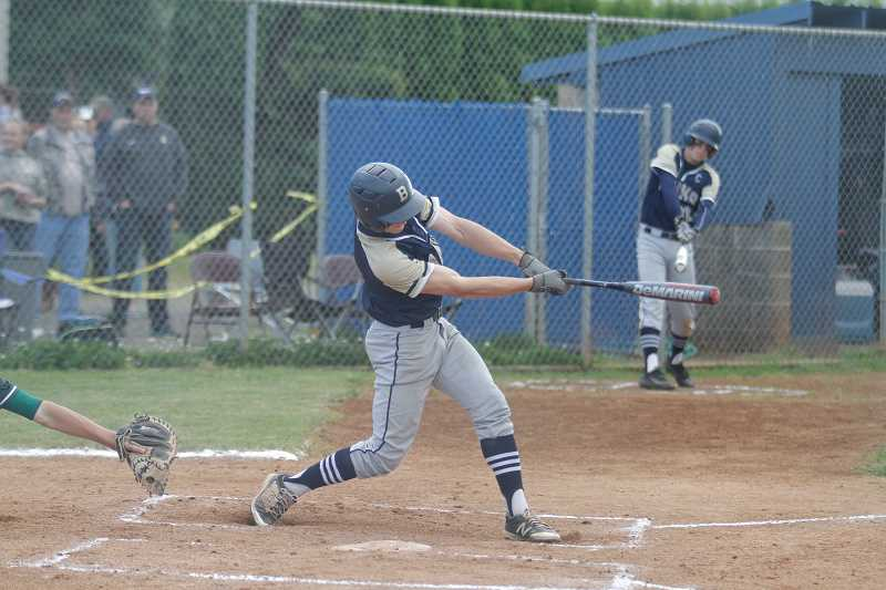 NEWS-TIMES PHOTO: WADE EVANSON - Banks' Gunnar Partain takes a swing during a game earlier this season. Partain was selected as the Cowapa League Player of the Year.