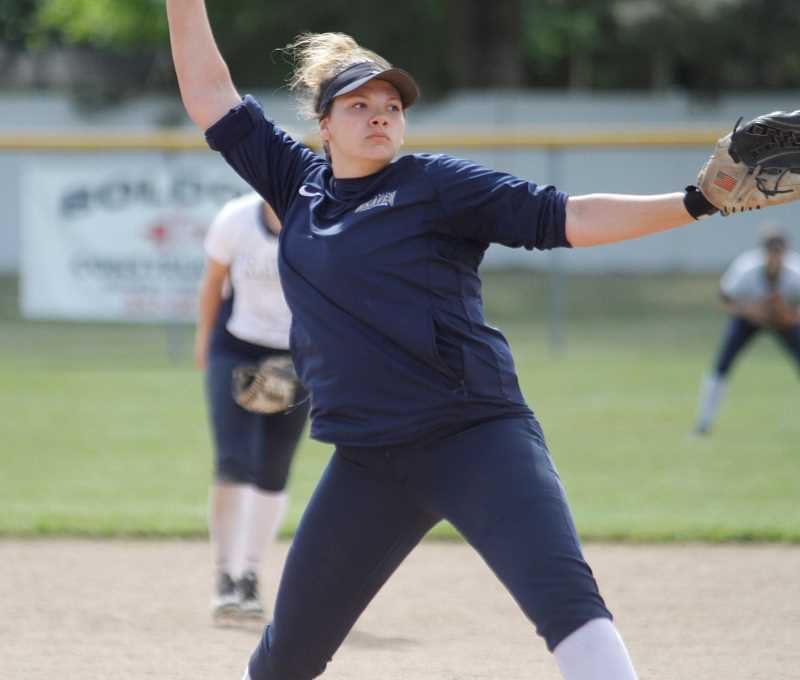NEWS-TIMES PHOTO: WADE EVANSON - Banks Michaela Shaw throws a pitch during a Braves game earlier this season. Shaw was selected as the Cowap League Pitcher of the Year.