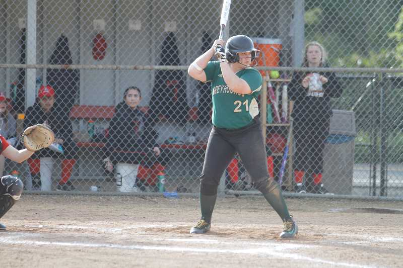 NEWS-TIMES PHOTO: WADE EVANSON - Senior first baseman Abbey Zawadney prepares to take a swing during a Greyhounds game earlier this spring. Zawadney was a NWL first team selection.