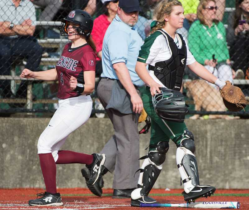 HILLSBORO TRIBUNE PHOTO: CHRISTOPHER OERTELL - Glencoe's Ashlynn Bailey scores a run in the Tide's win over Jesuit earlier this season. Bailey was selected as the Metro League co-Player of the Year.