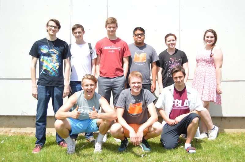 SPOTLIGHT PHOTO: NICOLE THILL - Ten members of the Scappoose High School chapter of FBLA travel to California this month for a national conference and competition. Pictured from left to right are students James Brady, Kyle Johnson, Benji Davidson, Victor Nieves-Garcia, Rhiannon Canary, Emma Phillips, Alex Varga, Beau Groom and Michael Smith. Not pictured is Joseph Hernandez.