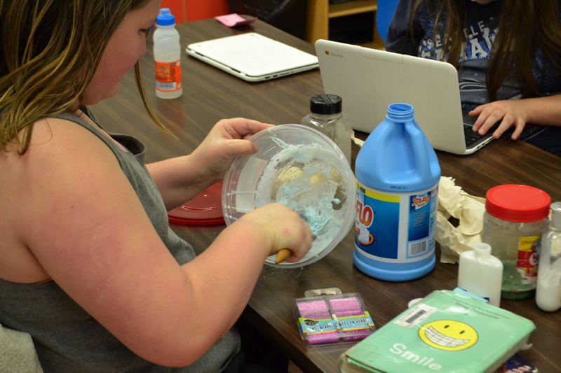 POST PHOTO: BRITTANY ALLEN - One girl creates numerous types of slime she researched.