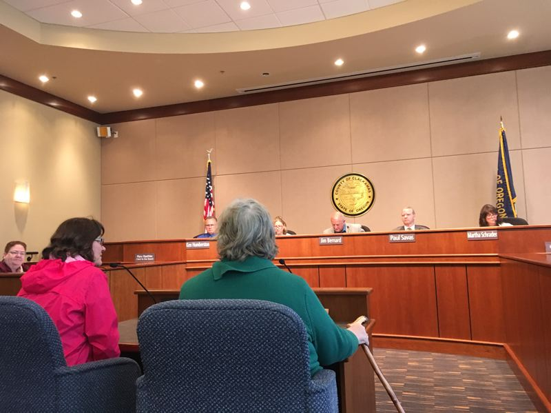 PAMPLIN MEDIA GROUP: PETER WONG - Clackamas County commissioners hear from JoAnne Forsyth of West Linn, left, and Kate Rohde of Oak Grove at a meeting Thursday (June 8) on a resolution reaffirming support for diversity and curbing cooperation with stepped-up federal immigration enforcement.