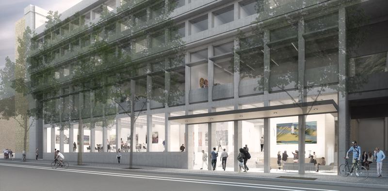 COURTESY: HACKER ARCHITECTS  - Neuberger Hall  and the proposed Jordan Schnitzer Museum of Art  on Broadway, due 2019.