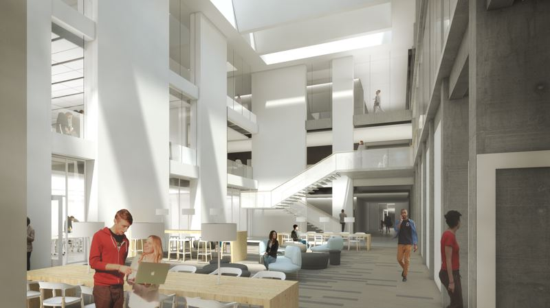 COURTESY: HACKER ARCHITECTS  - Light will penetrate Neuberger Hall thanks to a large, new skylight. Art gallery and common areas will be illuminated, and new windows will alow one to see from Broadway through to the Park Avenue side of the building.