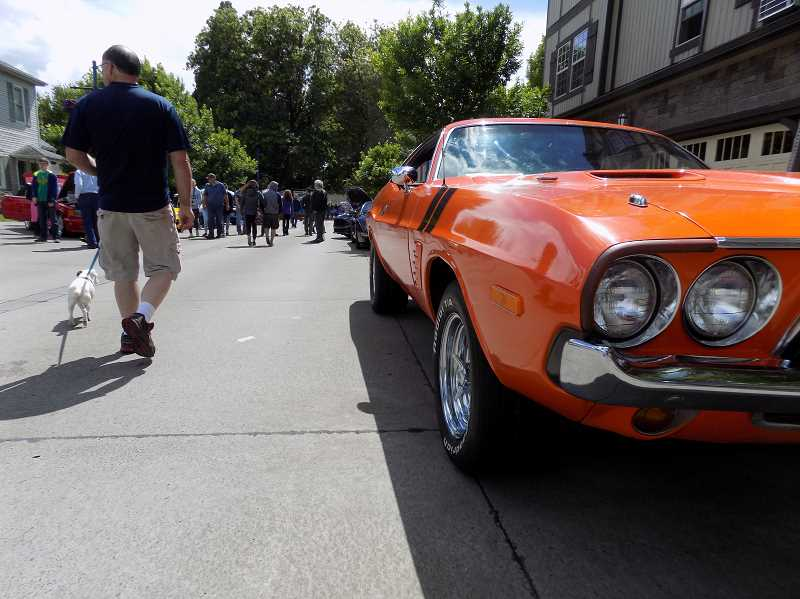 GAZETTE PHOTO: RAY PITZ - Loads of people flocked to Old Town Sherwood June 10 for the 27th Annual Les Schwab Tire Centers' Cruisin' Sherwood Classic & Custom Car Show.