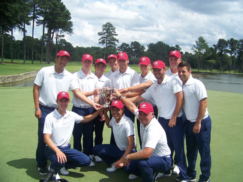 The U.S. team celebrates winning the Arnold Palmer Cup.