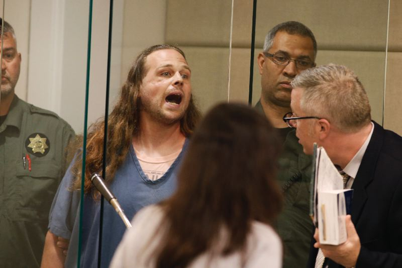 POOL PHOTO: BETH NAKAMURA, THE OREGONIAN/OREGONLIVE - Jeremy Christian lashed out at his surviving victim and Portland liberals when he was arraigned.