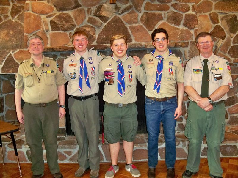 COURTESY PHOTO:  BARBARA HARRIS - Eagle Scouts and troop leaders, pictured from left, are Tony Keagbine, Corwyn Bradeen, Parker Eggiman, Bryan Hunter and Joe Keller.