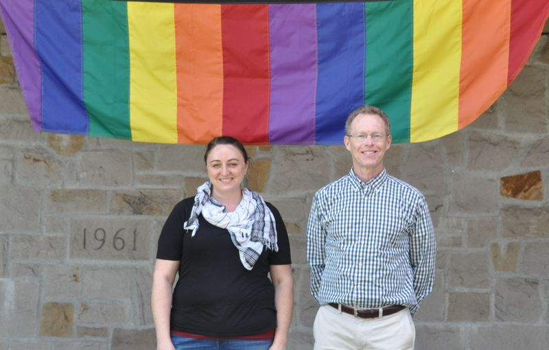 TIMES PHOTO: BLAIR STENVICK - Neomie Lemke and the Rev. David David Randall-Bodman outside Bethel Congregational United Church of Christ, an LGBTQ-friendly church in Beaverton.