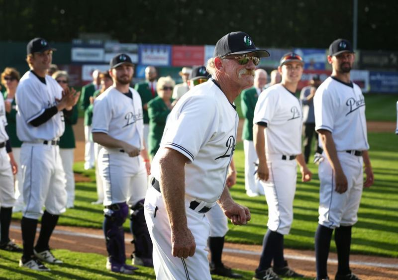 TRIBUNE PHOTO: JONATHAN HOUSE - Portland Pickles manager Jeff Lahti helped guide the summer college wood-bat team to two series victories last week at Walker Stadium.