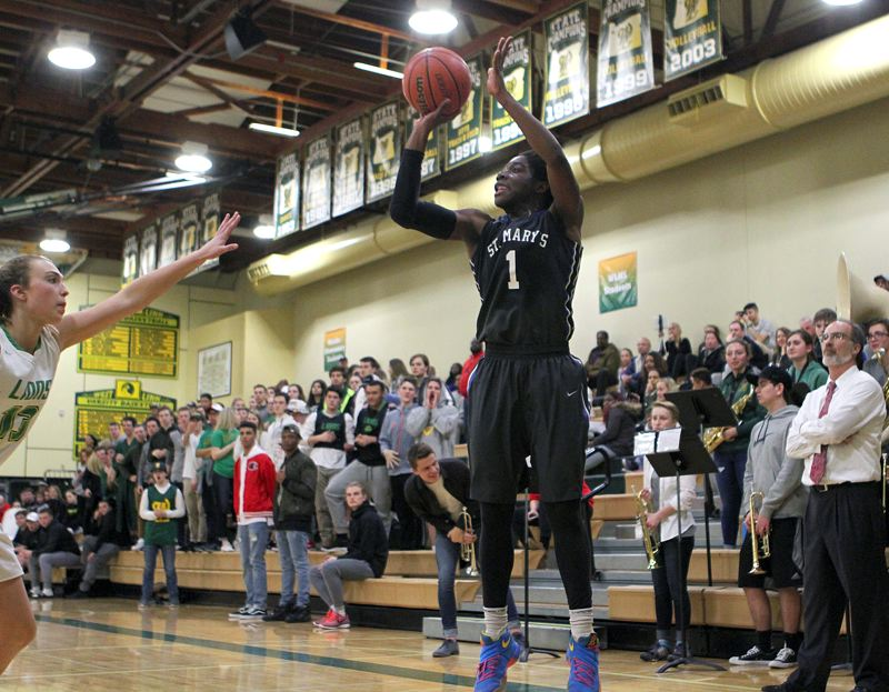 PAMPLIN MEDIA GROUP: MILES VANCE - Bendu Yeaney of St. Mary's Academy fires off a jump shot against West Linn.