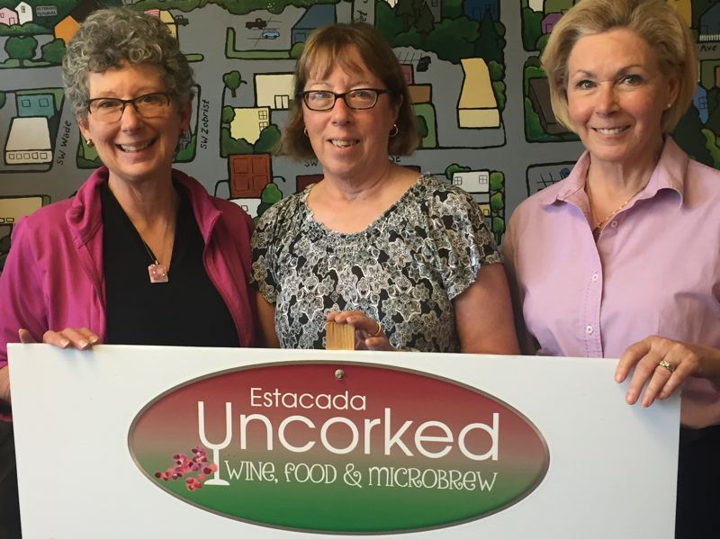 ESTACADA NEWS PHOTO: EMILY LINDSTRAND - Event organizers Robyn Beisell, Connie Redmond and Nancy Hoffman are excited about Estacada Uncorked, scheduled for Saturday, June 24.