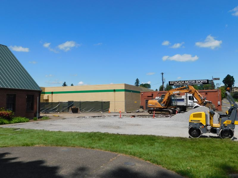 ESTACADA NEWS PHOTO: EMILY LINDSTRAND - As a part of the construction and upgrades, part of City Hall's parking lot was moved to the front of the building.