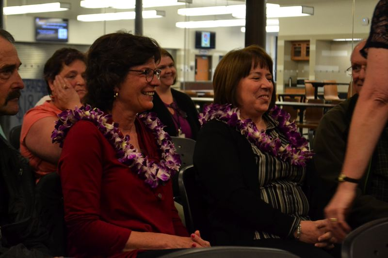 POST PHOTO: BRITTANY ALLEN - Lesley Vermaas and Laurie Espenel of Sandy Grade School were gifted with flowers by Principal Rachael George.