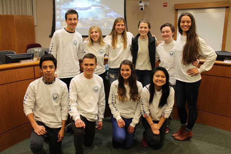 REVIEW PHOTO: ANTHONY MACUK - The initial 10 Youth Leadership Council members were chosen by City officials, but the group will now select its own members each year. This year's council includes (from left): front row, Sebastian Marin-Quiros, Kyle Langford, Renee Kozlowski and Annie Choo; and back row, Michael Murray, Brooke Baker, Jensen Kaelin, Isabelle Cullen, River Smith and Rhys Richmond.