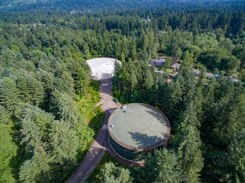 PHOTO COURTESY OF UNIQUE PERSPECTIVES AERIAL PHOTOGRAPHY - With a new roof in place, the Waluga 1 reservoir is back online and working in tandem with the Waluga 2 reservoir to provide drinking water to Lake Oswego and Tigard.