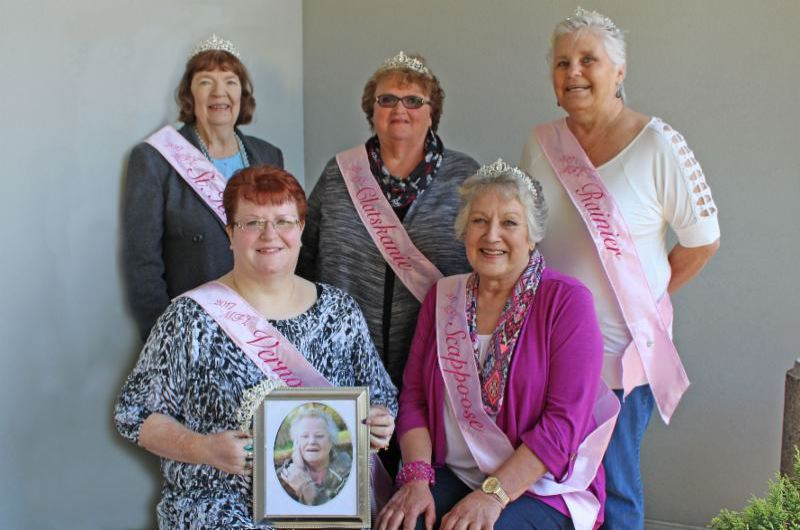 The My Fair Lady court of 2017. Front row: Tina Brewington with a photo of her mother Penny Dean, and Alta Lynch.  