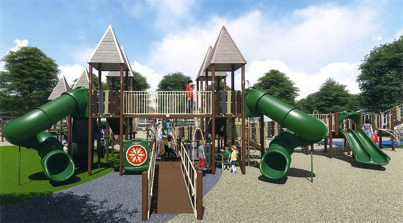 COURTESY RENDERING - This blueprint for the $625,000 proposal by playground-maker GameTime highlights the structure's twin frog-leg slides.